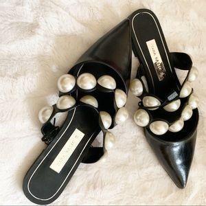 NWT Zara pointed toe mule slide with pearls